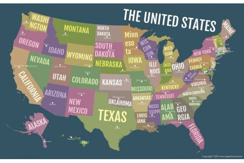 USA Bold State Names Poster Map