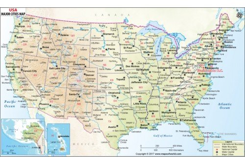 Buy USA Map With Major Cities - Major cities in usa map