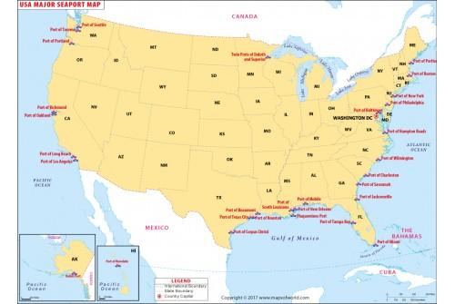 USA Seaports Map