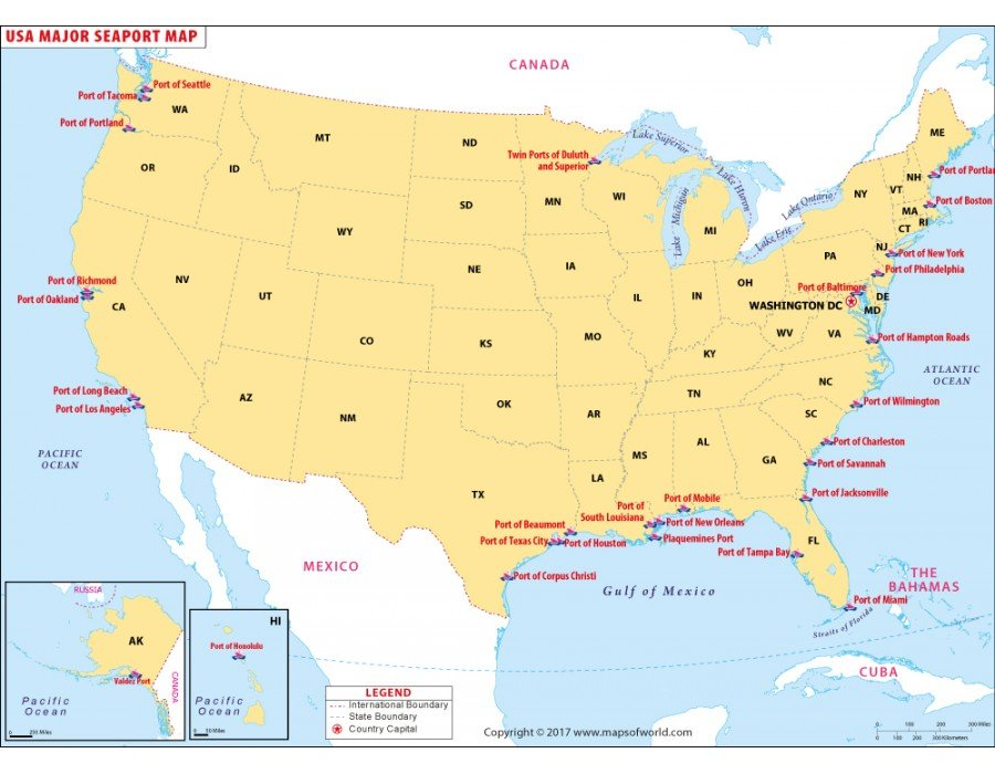 Buy USA Seaports Map in Vector Format