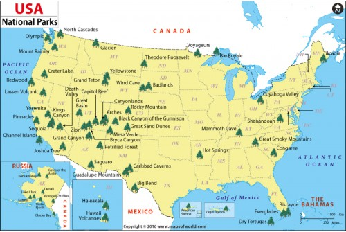 US National Parks Wall Map