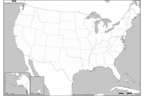 Blank US Map with State Boundaries