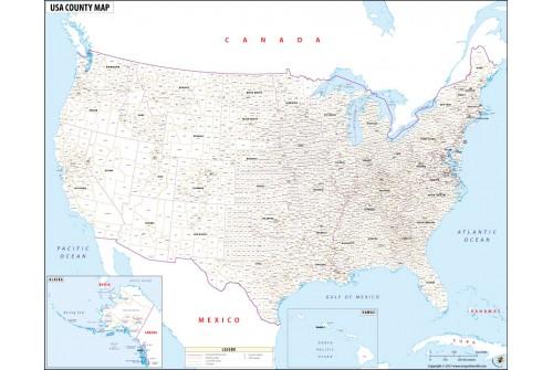 USA County Names Map