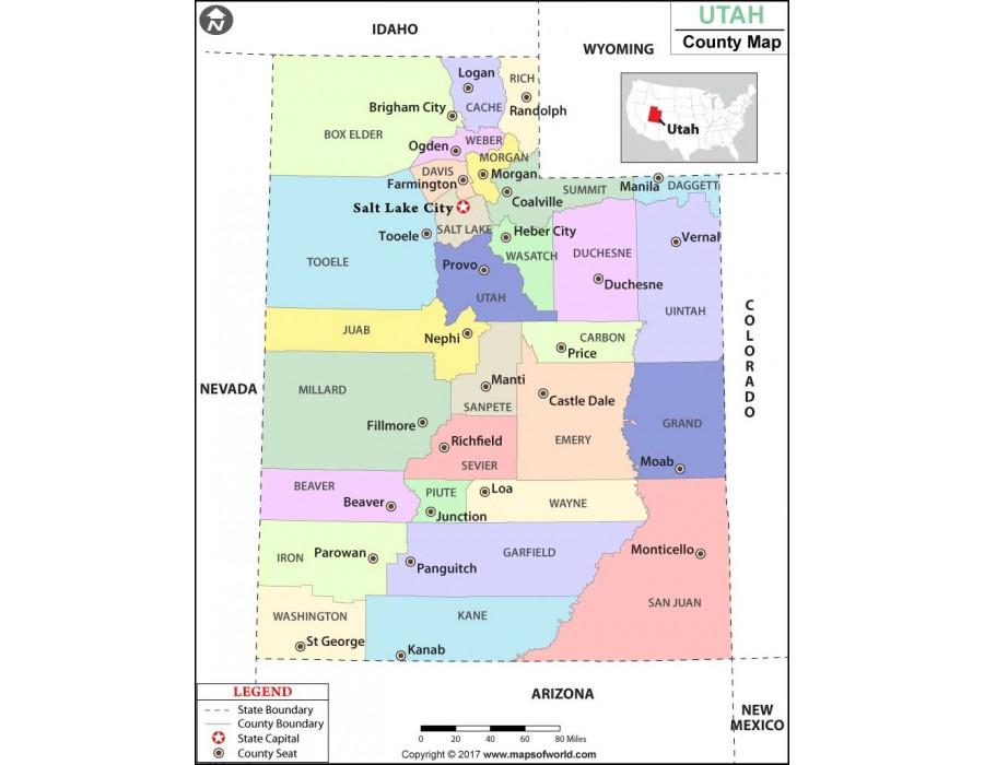 Buy Utah County Map