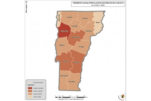 Vermont Population Estimate By County 2016 Map