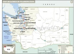 Washington Beaches Map - Digital File