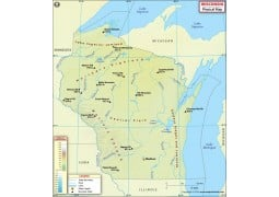 Physical Map of Wisconsin - Digital File