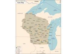 Wisconsin State Map - Digital File