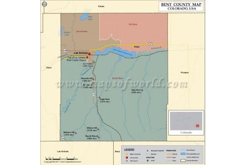 Bent County Map, Colorado