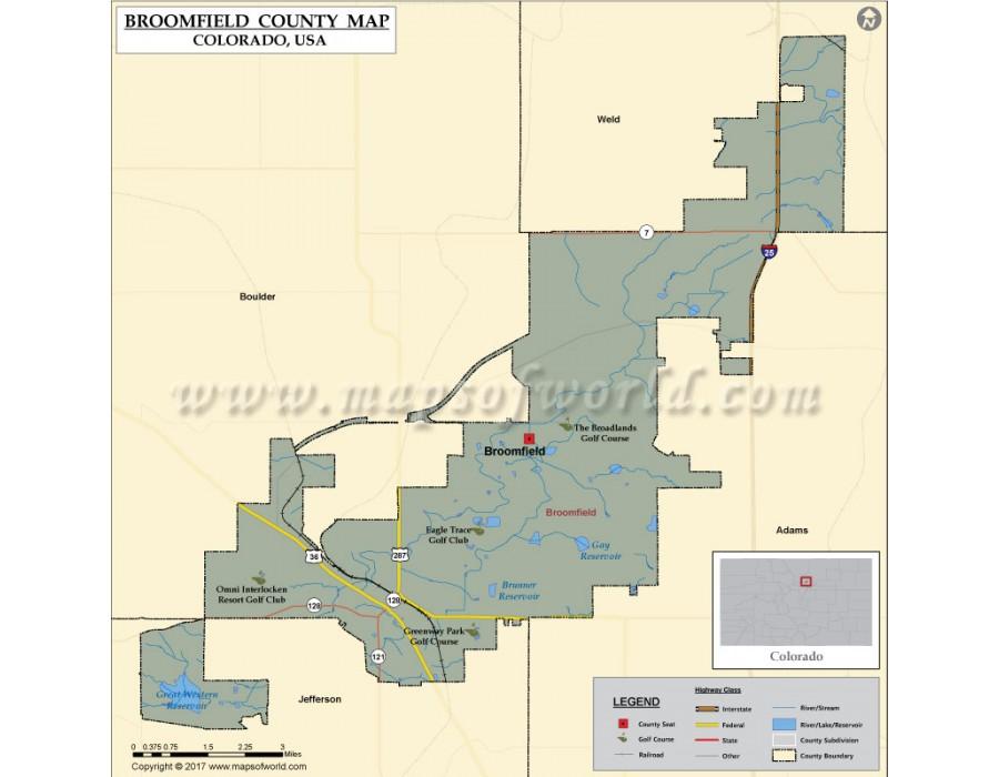 Buy Broomfield County Map, Colorado