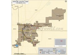 Denver County Map, Colorado - Digital File