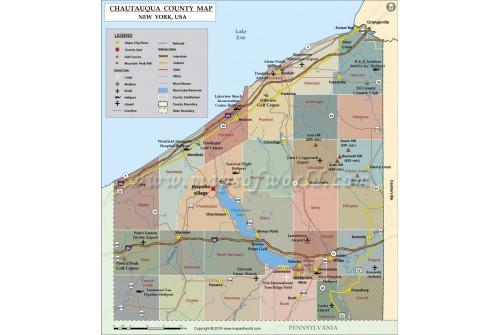 Chautauqua County Map, New York