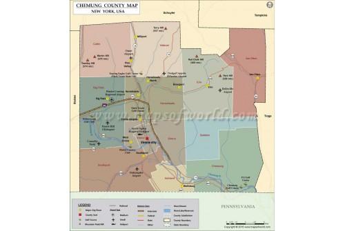 Chemung County Map, New York