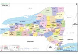 New York County Map  - Digital File