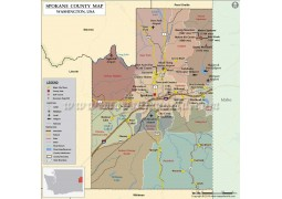 Spokane County Map, Washington - Digital File