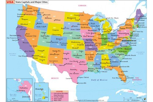 Buy United States Map | US State Capitals and Major Cities Map