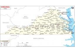 Map of Virginia Cities