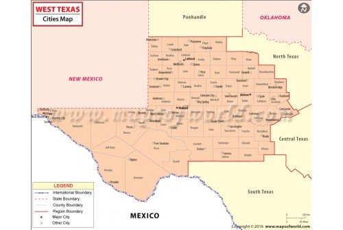 Buy West Texas Cities Map - Texas cities map