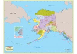 Alaska  Zip Code Map With Counties - Digital File