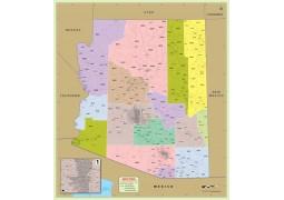 Arizona Zip Code Map With Counties - Digital File