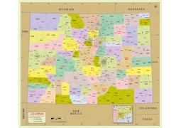 Colorado Zip Code Map With Counties - Digital File