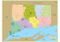 Connecticut Zip Code Map With Counties - Digital File