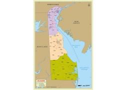 Delaware Zip Code Map With Counties - Digital File