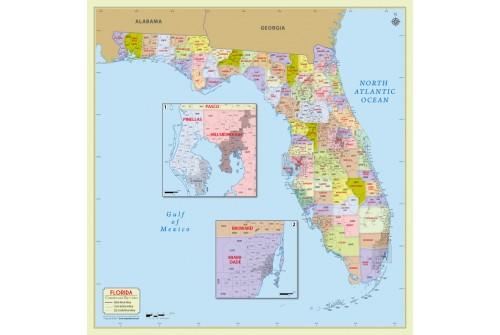 Florida Zip Code Map With Counties