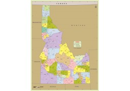 Idaho Zip Code Map With Counties - Digital File