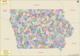 Iowa Zip Code Map - Digital File