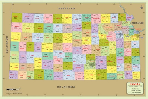 Kansas Zip Code Map With Counties
