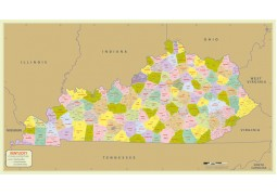 Kentucky Zip Code Map With Counties - Digital File
