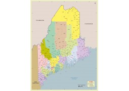 Maine Zip Code Map With Counties - Digital File