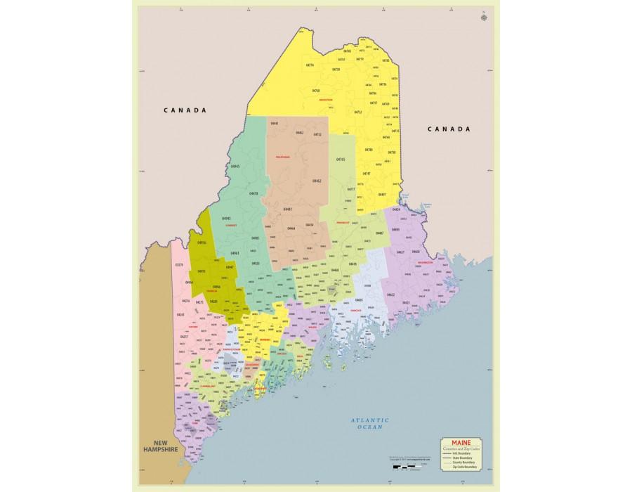 zip code map of maine Buy Maine Zip Code Map With Counties Online zip code map of maine
