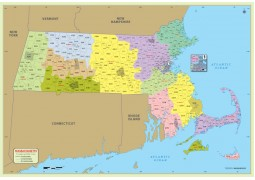 Massachusetts Zip Code Map With Counties - Digital File