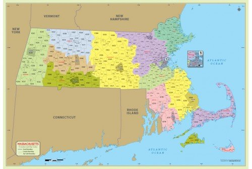 Massachusetts Zip Code Map With Counties