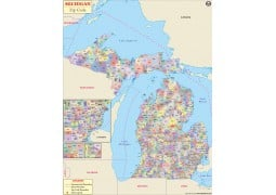 Michigan Zip Code Map - Digital File