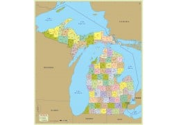 Michigan Zip Code Map With Counties - Digital File