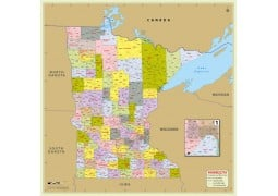 Minnesota Zip Code Map With Counties - Digital File