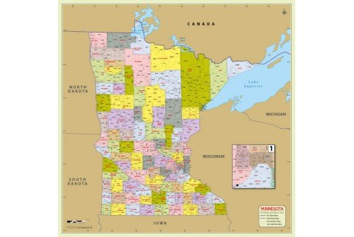 minnesota zip codes map Buy Minnesota Zip Code Map With Counties Online minnesota zip codes map