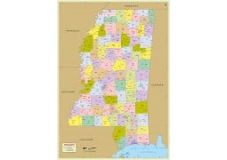 Mississippi Zip Code Map With Counties - Digital File