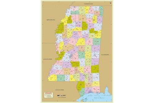 Mississippi Zip Code Map With Counties
