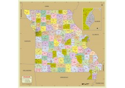 Missouri Zip Code Map With Counties - Digital File