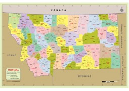 Montana Zip Code Map With Counties - Digital File