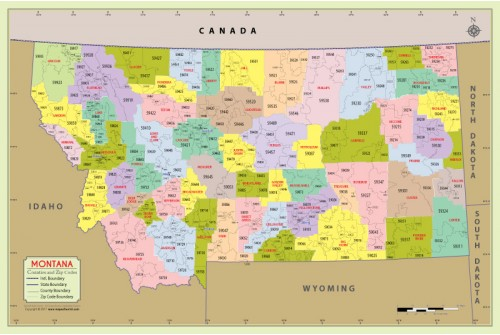 Montana Zip Code Map With Counties