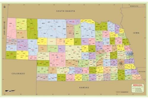 Buy Nebraska Zip Code Map With Counties online