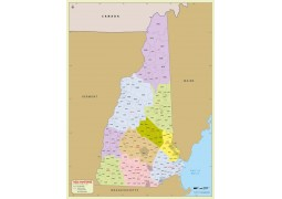 New Hampshire Zip Code Map With Counties - Digital File