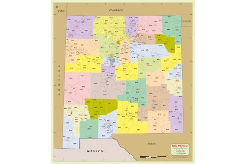 New Mexico Zip Code Map With Counties