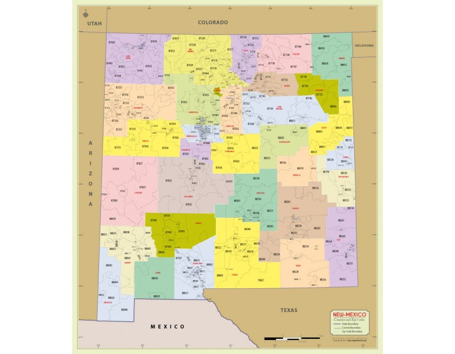 New Mexico Zip Code Map Buy Printed New Mexico Zip Code Map With Counties
