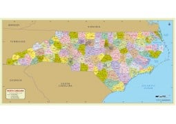 North Carolina Zip Code Map With Counties - Digital File